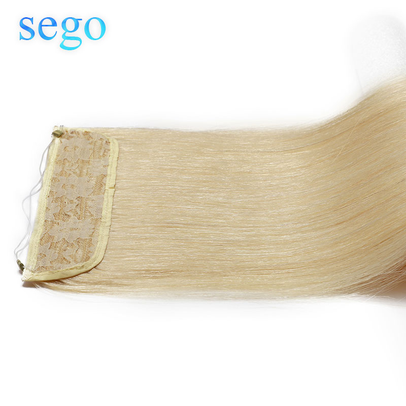 SEGO 16-24inch 90g-120g Straight Flip In Human Hair Extensions Hairpiece Fish Line Invisible Wire Non-Remy Natural  Hair