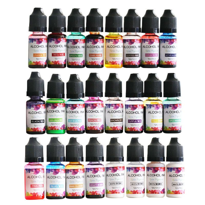 24 Colors 10ML Art Ink Alcohol Resin Pigment Kit Liquid Resin Colorant Dye Ink Diffusion UV Epoxy Resin Jewelry Making 1