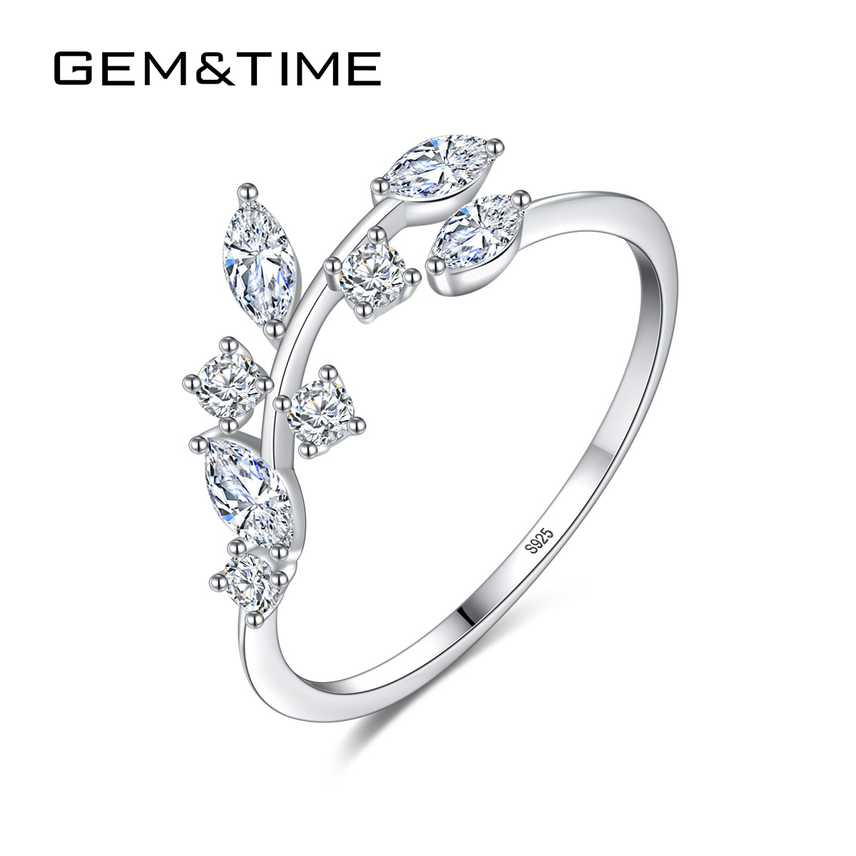 Gem&Time Real Sterling Silver 925 Ring Leaf Olive Cubic Zirconia Open Ring Engagement Silver 925 Jewelry bague argent 925 massif