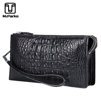 McParko Crocodile Clutch Wallet Men Genuine Leather Cltuch Bag Luxury Zipper Purse For Men Real crocodile wallet with wristband