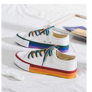 Image 5 - SWYIVY Rainbow White Shoes Woman Canvas Sneakers With Color Lace 2020 Spring New Female Casual Sneakers Platform Shoes White
