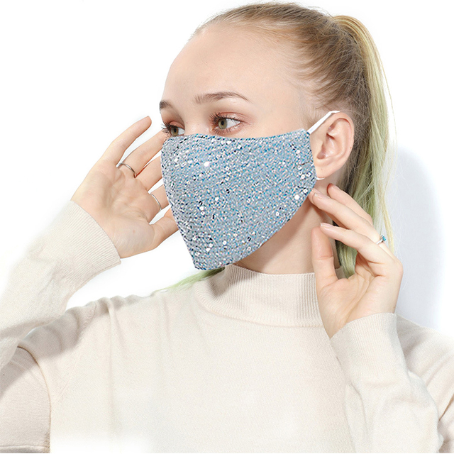 Women Summer Sequin Mask Anti-Haze Shining Party Activated carbon Windproof Mouth muffle bacteria proof Flu Face masks 1