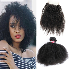 Afro Kinky Curly Hair Bundles With Closure 100% Human Hair Weave Bundles With Lace Closure Natural Hair