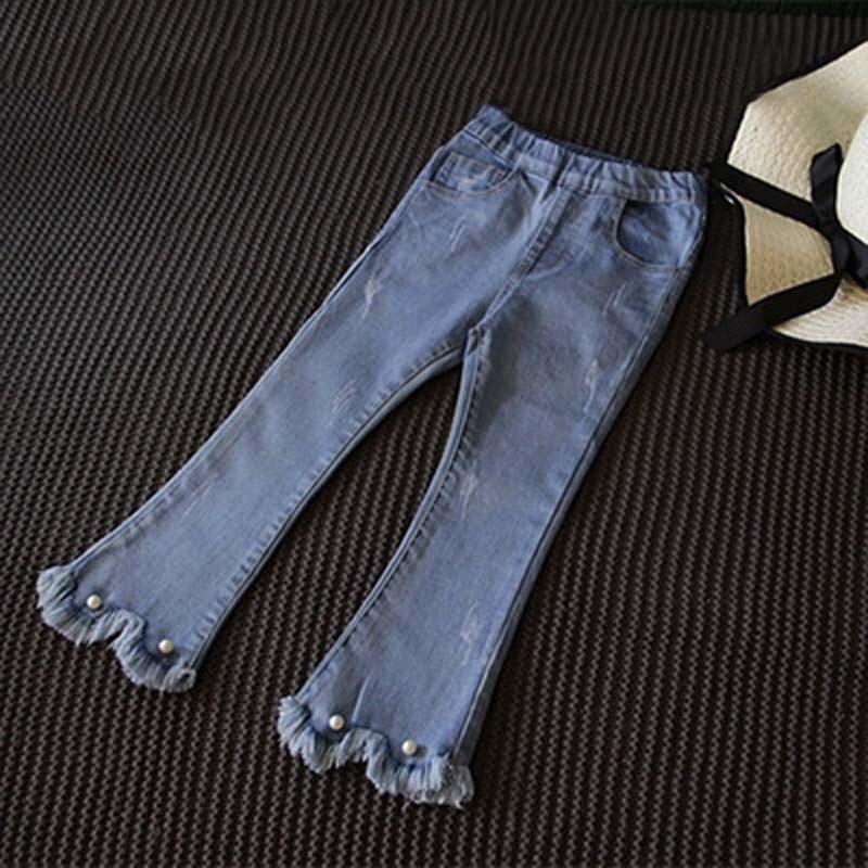 Pearls Tassel Fashion Girls Flare Pants 2020 New Spring Autumn Elasic Waist Little Girl Jeans Classic Blue Kids Denim Trousers