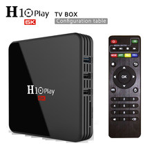 Caixa de tv smart h10 play, android 9.0, 4gb, 64gb 32gb, allwinner h6, quad core, 6k, h.265 conjunto wifi 2.4ghz top box, android box pk mx10 pro
