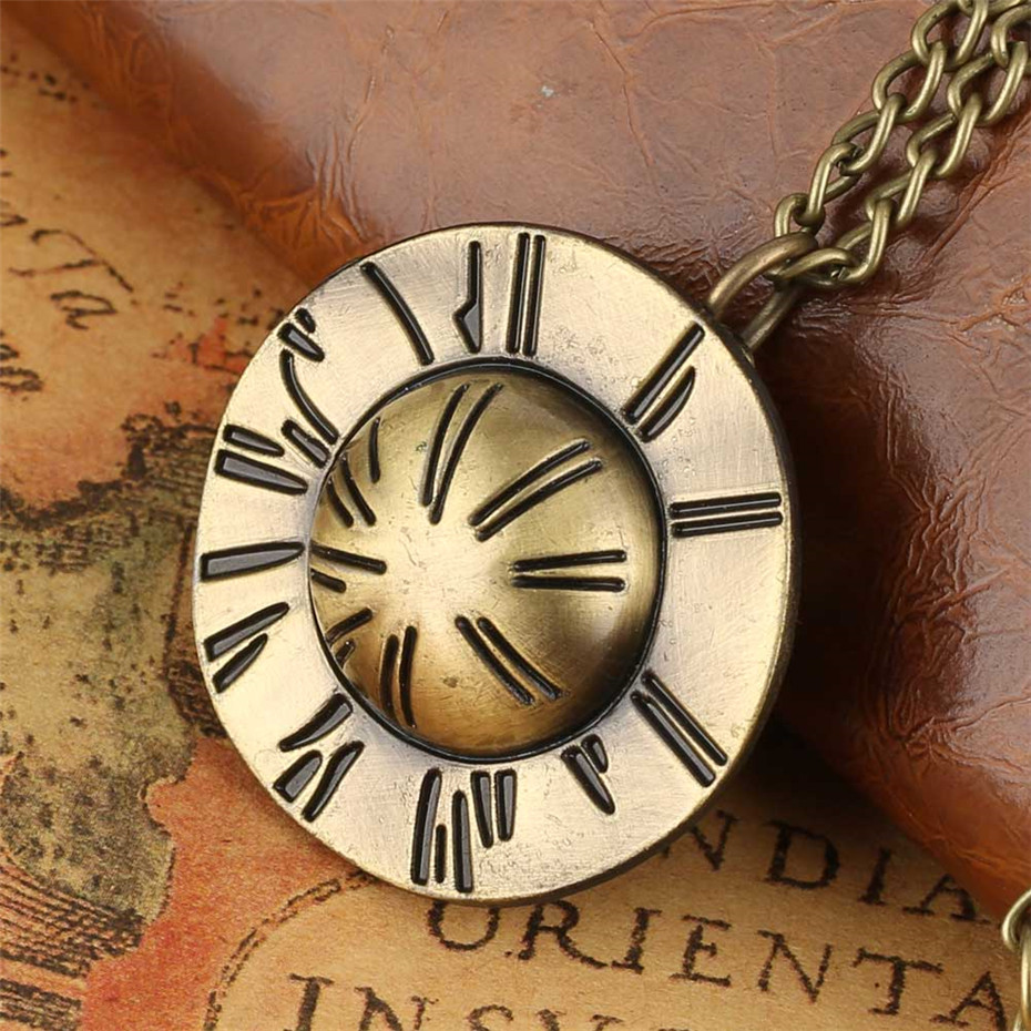 Cool Bronze Flying Saucer Design Pendant Necklace Watch Fob Sweater Chain Quartz Exquisite Pocket Watches Gifts For Children