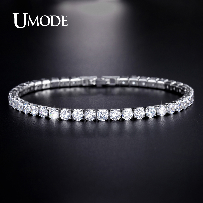 UMODE Clear Crystal Tennis Bracelet for Women Men Bracelet Cubic Zirconia Jewelry Party Wedding Hip Pop Accessories 2019 UB0097D