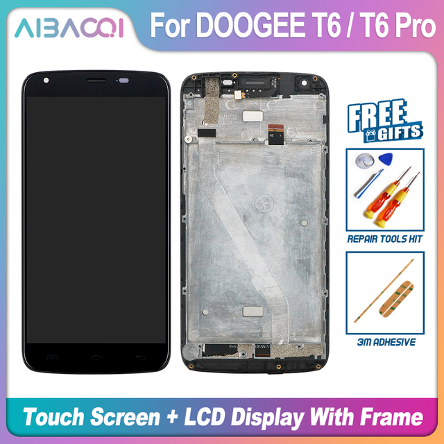 AiBaoQi New Original 5.5 inch Touch Screen+1280X720 LCD Display+Frame Assembly Replacement For Doogee T6/T6 Pro Android 6.0