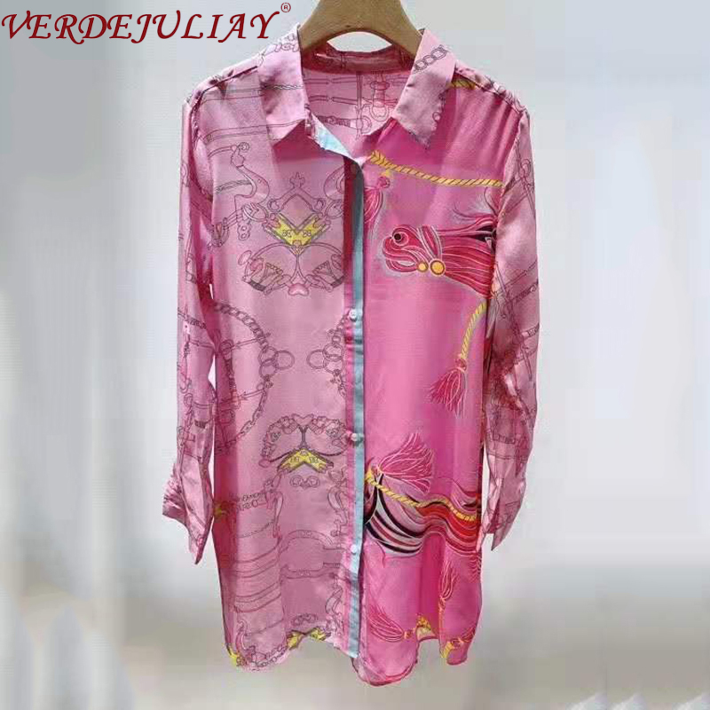VERDEJULIAY European High Street Style Long Shirt Women 2020 Spring Top Quality 100% Pure Silk Romantic Print Pink Blouse