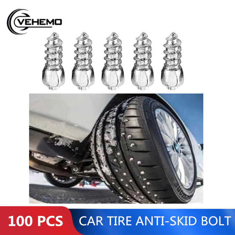 100PCS 12mm Stud Screw Car Tires Studs Screw Snow Spikes Wheel Tyres ATV Anti-Slip Screw Stud Car Motorcycle Tires Winter Spikes