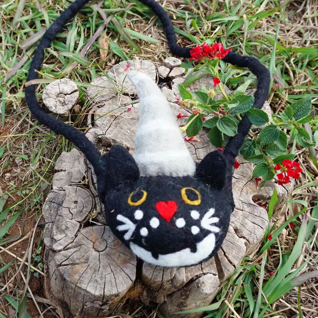 Bala Handmade Origional Christmas Clown Satchel Wool Felt Clown Wool Christmas Decoration