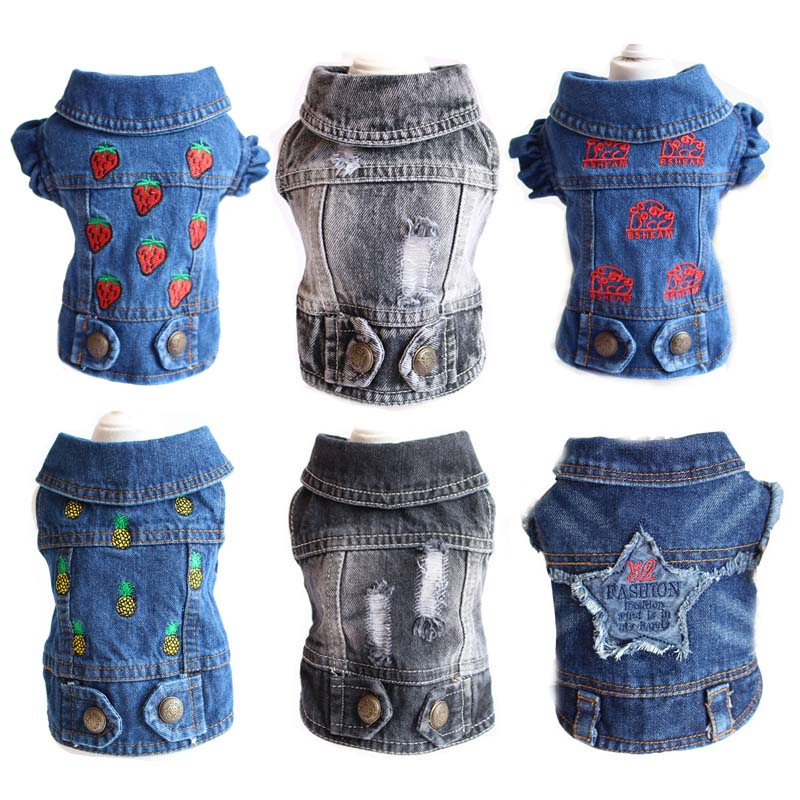 Spring Summer Cool <font><b>Pet</b></font> <font><b>Dog</b></font> Denim Jacket Fashion Hole Design Clothes for <font><b>Dogs</b></font> <font><b>Pets</b></font> <font><b>Clothing</b></font> Casual French Bulldog Clothes 10A image