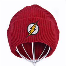 Cartoon embroidery Unisex Winter Hat Skullies Beanie Knitted Hats Flash Hero Barry Allen Embroid Knitting Crochet Elasticity
