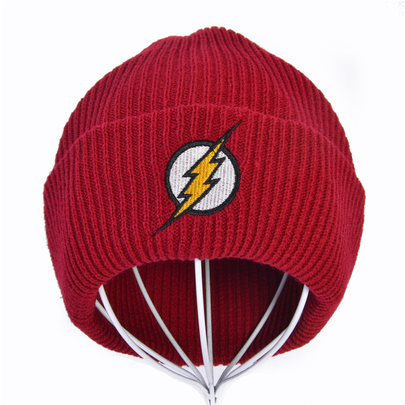Desenhos animados bordado unisex inverno chapéu skullies gorro malha chapéus flash herói barry allen embroid tricô crochê elasticidade chapéu