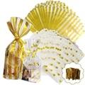 100PCS Gold OPP Taschen mit Twist Krawatten für Cookie  Bäckerei  Candy  Süße  tasse Kuchen und Snacks Durable Cello Behandeln Taschen Transparent-in Taschen & Körbe aus Heim und Garten bei
