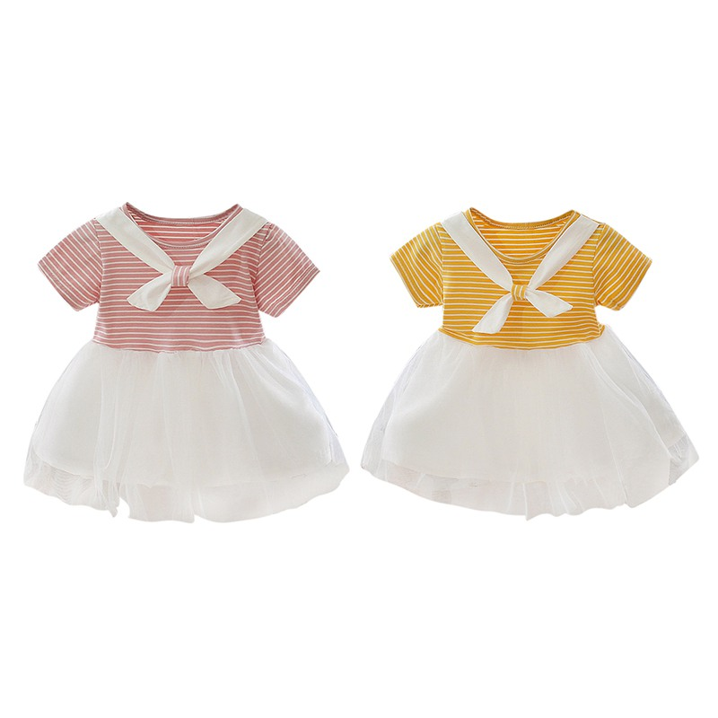 Kids Baby Girls Lovely Rainbow Stripes Cotton Sundress Princess Dress Casual Shirts Clothes