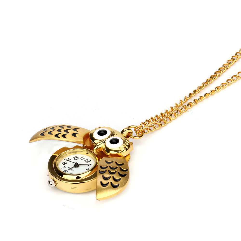 H7bbc354ac32244ef8f0b4635c0bf0156O - Pocket Watch Vintage Style Retro Slide Owl Pendant Long Necklace Analog Pocket Watch Gift Bundy Party Watch gift