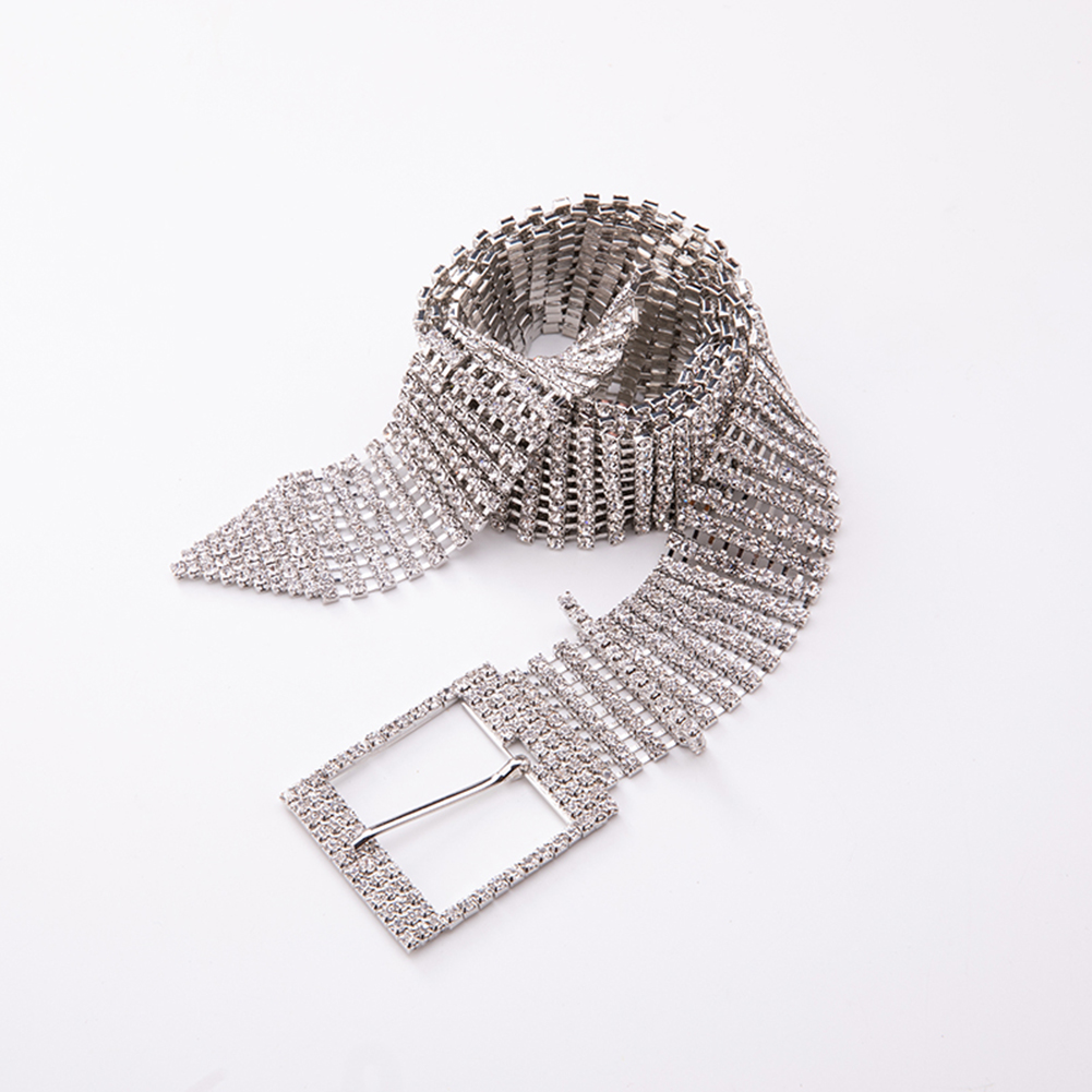 Women Shiny Belt Waist Metal Chain Crystal Diamond Waistband Luxury Wide Chain Full Rhinestone Waistband