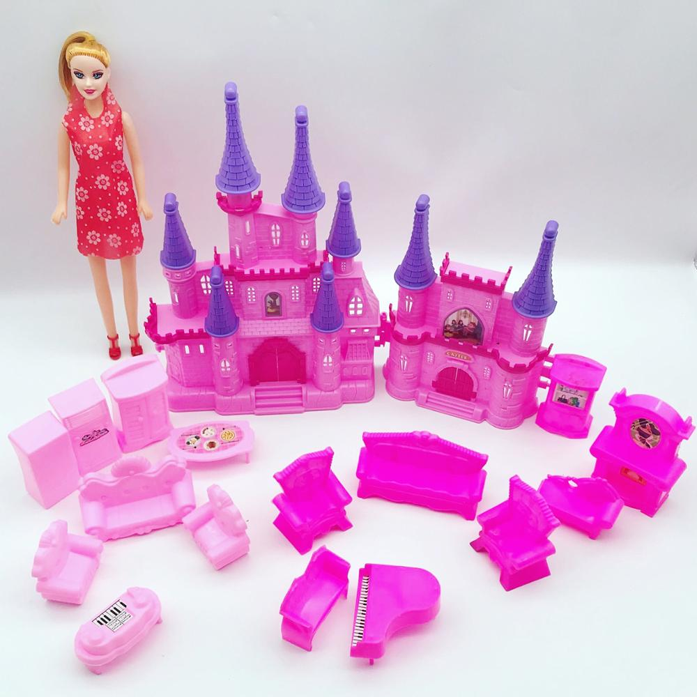Pretend Play Toys Castle House Set Doll Furnitures For Doll Girls Xmas Birthday Gifts