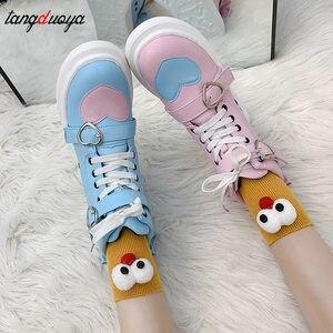 Кроссовки Лолиты в Корейском стиле Харадзюку; Женская обувь с бантом в стиле принцессы кавайи для девочек; Вечерние женские туфли; 2020