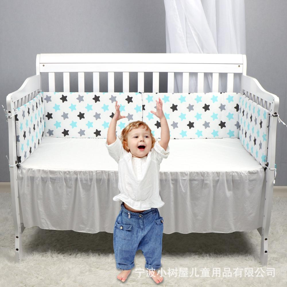 Hot Sale Baby Bed Crib Bumper  Infant Safe Fence Line Bebe Cot Protector Unisex U-Shaped Detachable Cotton Newborn Bumpers