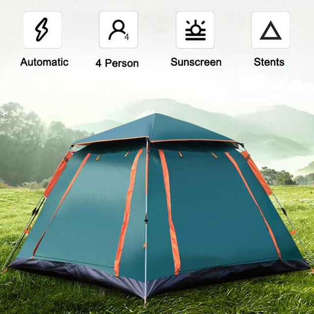 Familie Camping Automatische Tent 4 Persoon Grote Ruimte Tenten Automatische Opening Waterdichte Vier Zijden Ademend Outdoor Wandelen Tent