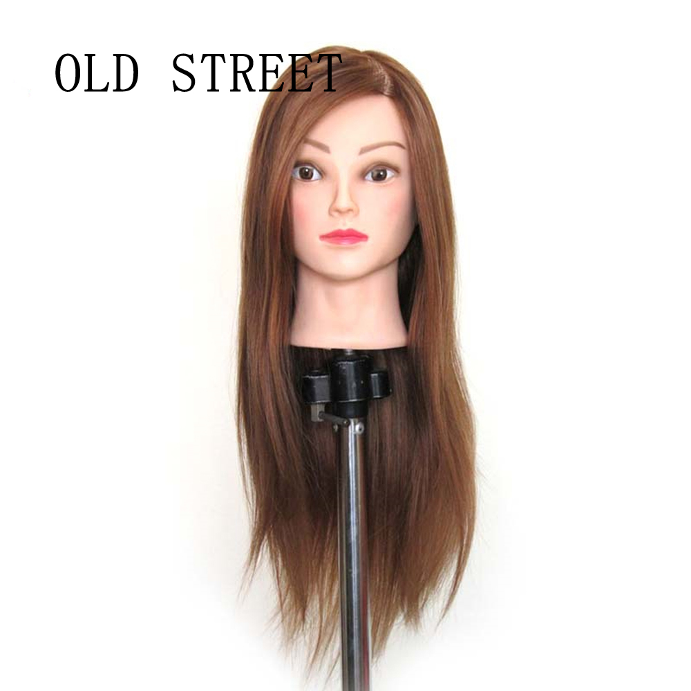 Mannequin Head Hair Styling Training Head Manikin Cosmetology Doll Head Straight Synthetic Fiber Hairdressing Training Mode