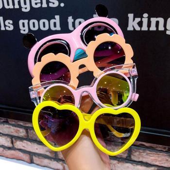 Kawaii Baby Children's Cartoon Sunglasses Protection UV New Fashion Heart Glasses Girls Love Bow Toy - discount item  29% OFF Eyewear & Accessories