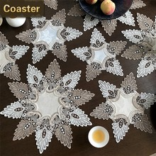 British Style Brocade Fabric Water Soluble Lace Trim Fashion Placemat Bowl Coaster Round Tablecloth Vase Mat Christmas Wedding(China)