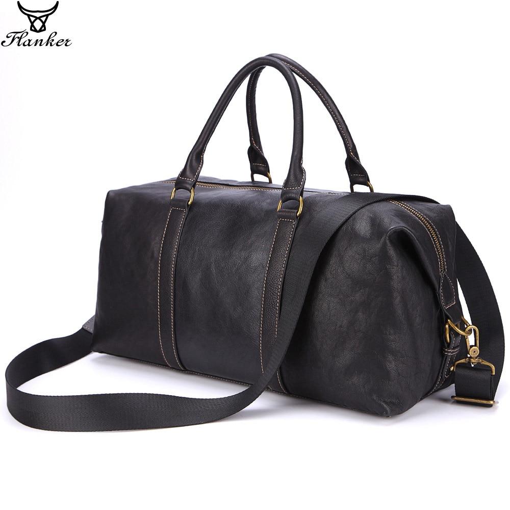 Flanker 2019 Brand Genuine Leather Men Travel Bags Vintage Hand Luggage Man Large Capacity Vernight Duffle Bag Tote Shoulder Bag