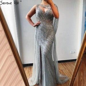 Image 3 - דובאי שמפניה יוקרה ללא שרוולים ערב שמלות 2020 יהלומי Sparkle ללא משענת סקסי פורמליות שמלת Serene היל LA70301
