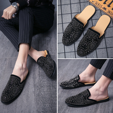 Luxury Men Shoes Black Leather Half Slippers Men's Casual Shoes Handmade Luxurious Comfortable Breathable Spring Fashion Loafers 2020 summer cool rhinestones slippers for male gold black loafers half slippers anti slip men casual shoes flats slippers wolf