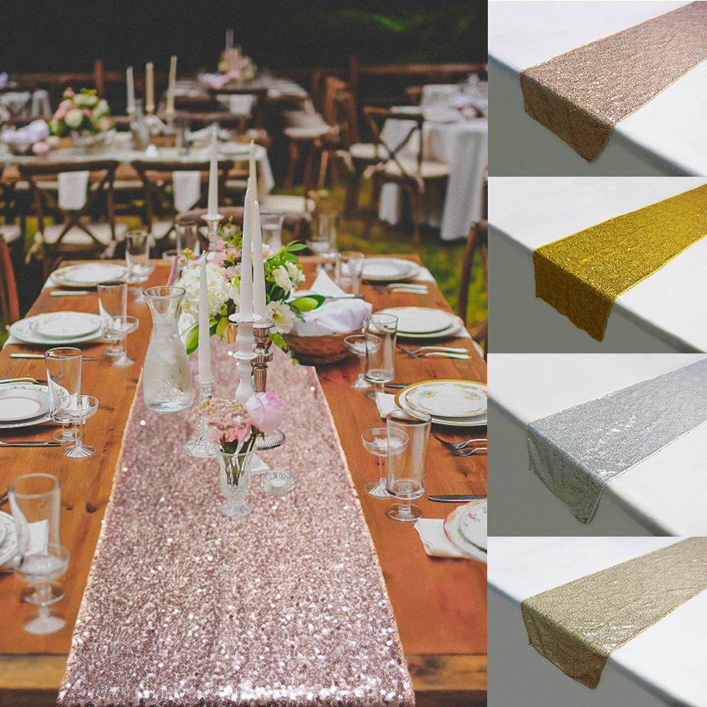 Free Shipping Rose Gold Sequin Table Runner Luxury Style Table Cloth For Wedding Hotel Dinner Party Decoration