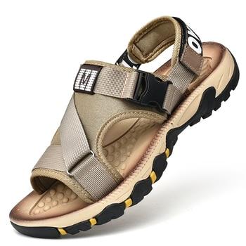 Сандалии мужские пляжные, повседневная обувь в римском стиле, дышащие босоножки для улицы, удобсветильник кие, лето