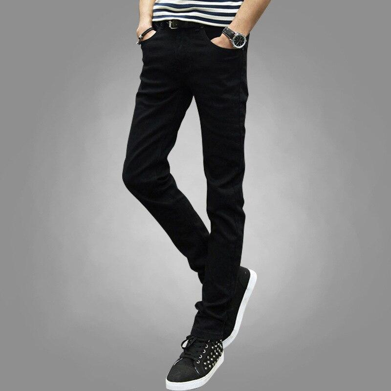 Summer Solid Color Jeans Men's Korean-style Fashion Man Skinny Pants Elasticity Slim Fit Pencil Thin Versatile Capri Pants Stude