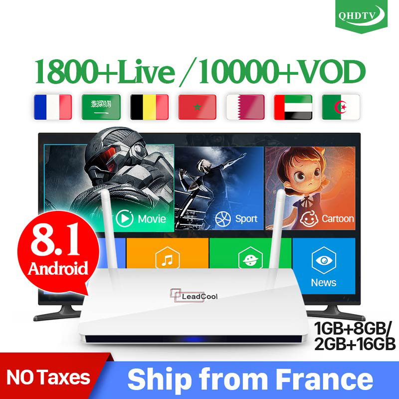 Leadcool IPTV Box Android 8.1 IP TV 1 Year Code Subscription IPTV Spain Italia Dutch Belgium Arabic IPTV