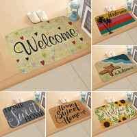 Felpudo de bienvenida, alfombrilla para pasillo de entrada, 6 patrones impresos, alfombra antideslizante, alfombras, alfombrilla divertida personalizada para puerta delantera
