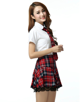 4pieces / sets Women School Uniform Set Short Sleeve Shirt with Plaid Sexy Lace Skirt cheering squad Costume фото