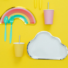 8 Pcs/Set Party Decorations Plates Cups Tableware Birthday Disposable Paper For Kids