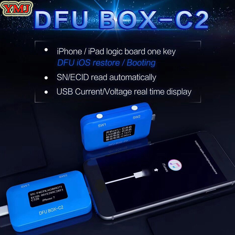 JC DFU BOX C2 for iPhone Restore Programmer One Button Boot Control line SN/ECID Reader USB Current/Voltage Detector JC C2|Phone Repair Tool Sets| |  - title=