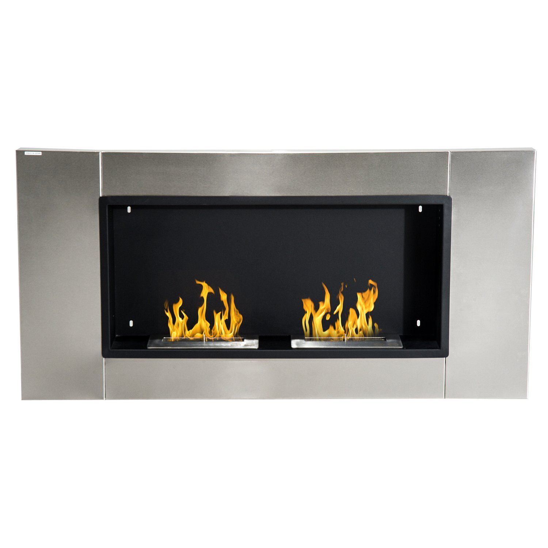 HOMCOM Bioethanol Fireplace Wall With 2 Burners Capacity 3L 4400 W 110x54x14,5 Cm Silver