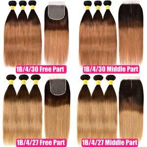 Image 3 - Mel loira ombre pacotes de cabelo em linha reta com fechamento do cabelo humano 3 4 pacotes com fechamento remy tecer cabelo brasileiro pacotes