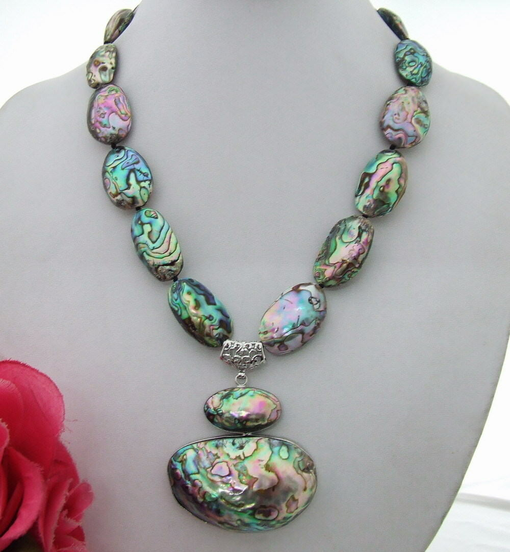 S030304 34x55MM Paua Abalone Shell Pendant Necklace