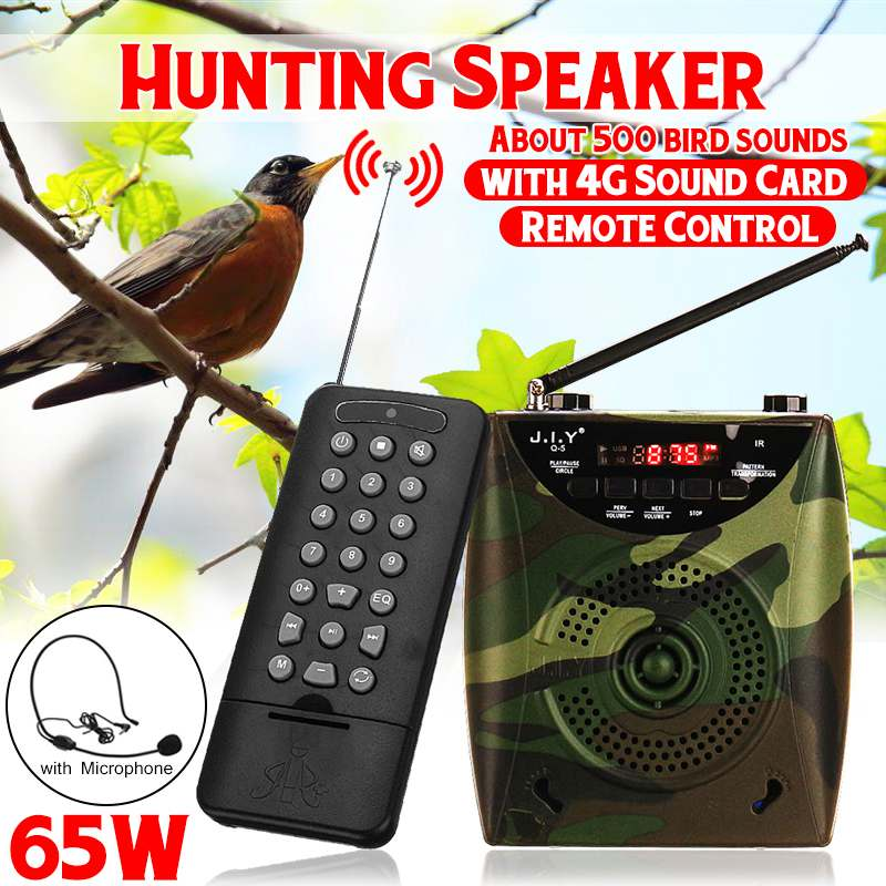 Professional Camouflage 65W Electric Hunting Decoy Speaker Bird Caller Predator Sound MP3 Player Bird Trap With Remote Control