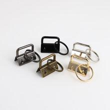 10 pçs chave fob chaveiro de ferragem anel dividido pulso pulseiras de algodão clipe de cauda fita de couro dobrável conectores suprimentos