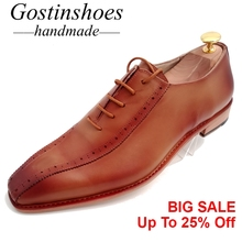 Goodyear Welted Handmade Men Dress Brogues Oxfords Brown Cow Leather Men Formal Business Office Shoe Lace-up Pointed Toe GSTN012 цена в Москве и Питере
