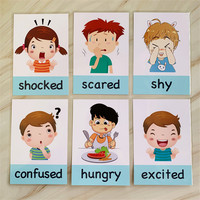 New 14pcs/set Baby English Learning Cards Cartoon Emotion Flash Cards For Children Early Educational Toy Memory Game For Kids 1