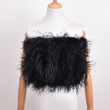 Ostrich-Hair-Bra Fur Women's Underwear Skirt Coat Mini New 100%Natural