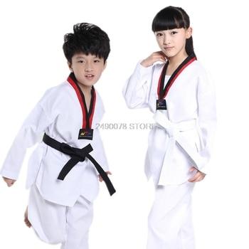 Kimono de práctica de Kickboxing para niños y niñas, traje blanco de Taekwondo, kárate, Kwon Do, F106