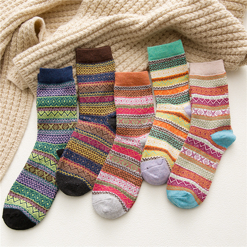 5 Pairs Autumn Winter Ladies Wool Socks Japanese Striped Hosiery Thicken And Warm Socks Women 395